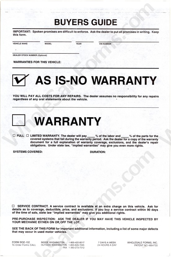 Modest image inside as is no warranty printable form