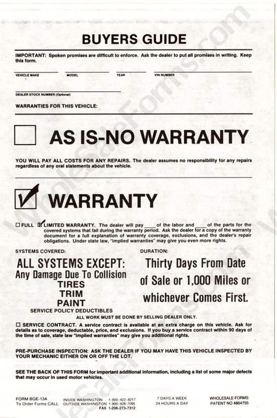 8724a9fdb8b9 30 Days 1000 Miles Warranty 3-Part Buyers Guide Plasticback (BGE ...