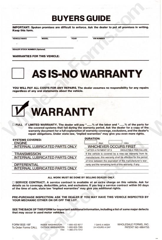 washington state 90 day implied warranty