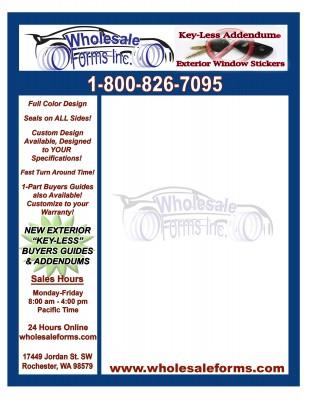 wholesaleform Sample window sticker