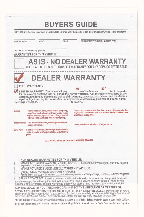 1 Month 1 000 Mile 25 Deduct As Is Warranty Bge Ez5e Wholesale Forms